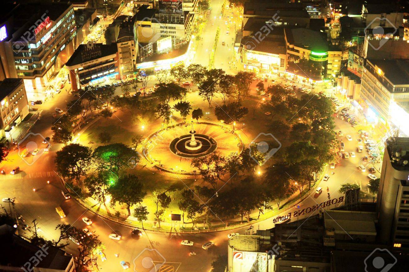 Cebu, Philippines - May 18, 2012: Fuente Osmena Circle at night. Fuente Osmena circle was built on February 13, 1912. Now is the center for cultural, social, and political happenings of Cebu. - 14681916