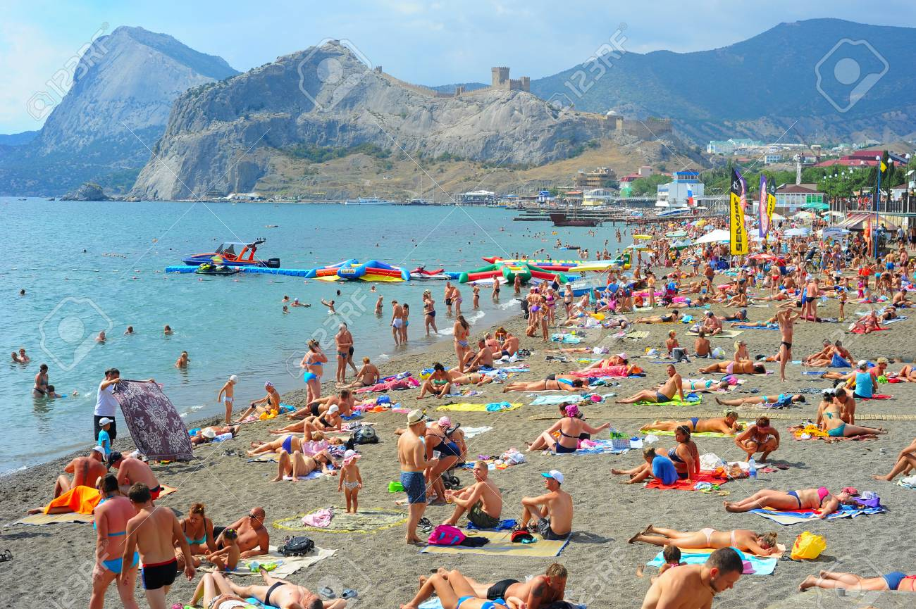 Sudak Ukraine Sept 08 2015 People At A Sea Beach In Sudak Stock Photo Picture And Royalty Free Image Image 48115794