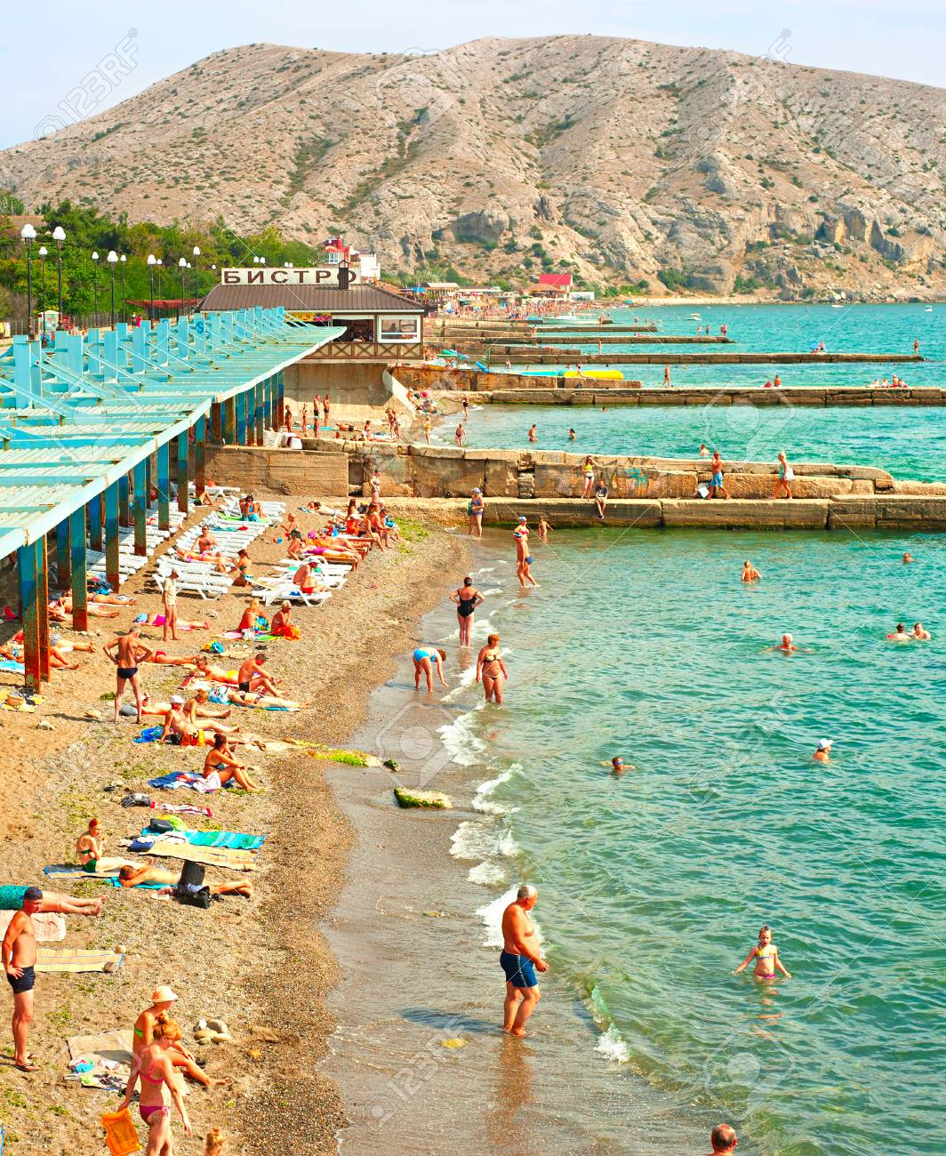 Sudak Ukraine Sept 08 2015 People At A Sea Beach In Sudak Stock Photo Picture And Royalty Free Image Image 72251132