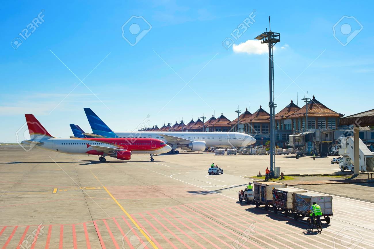 View Of Airport In The Sunshine Day Bali Island Indonesia Stock