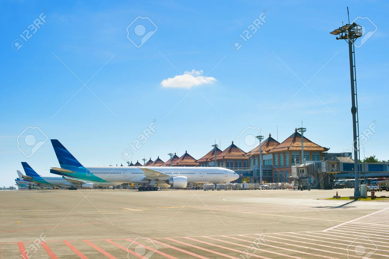Balinese Airport In A Bright Sunny Day Bali Island Indonesia Stock