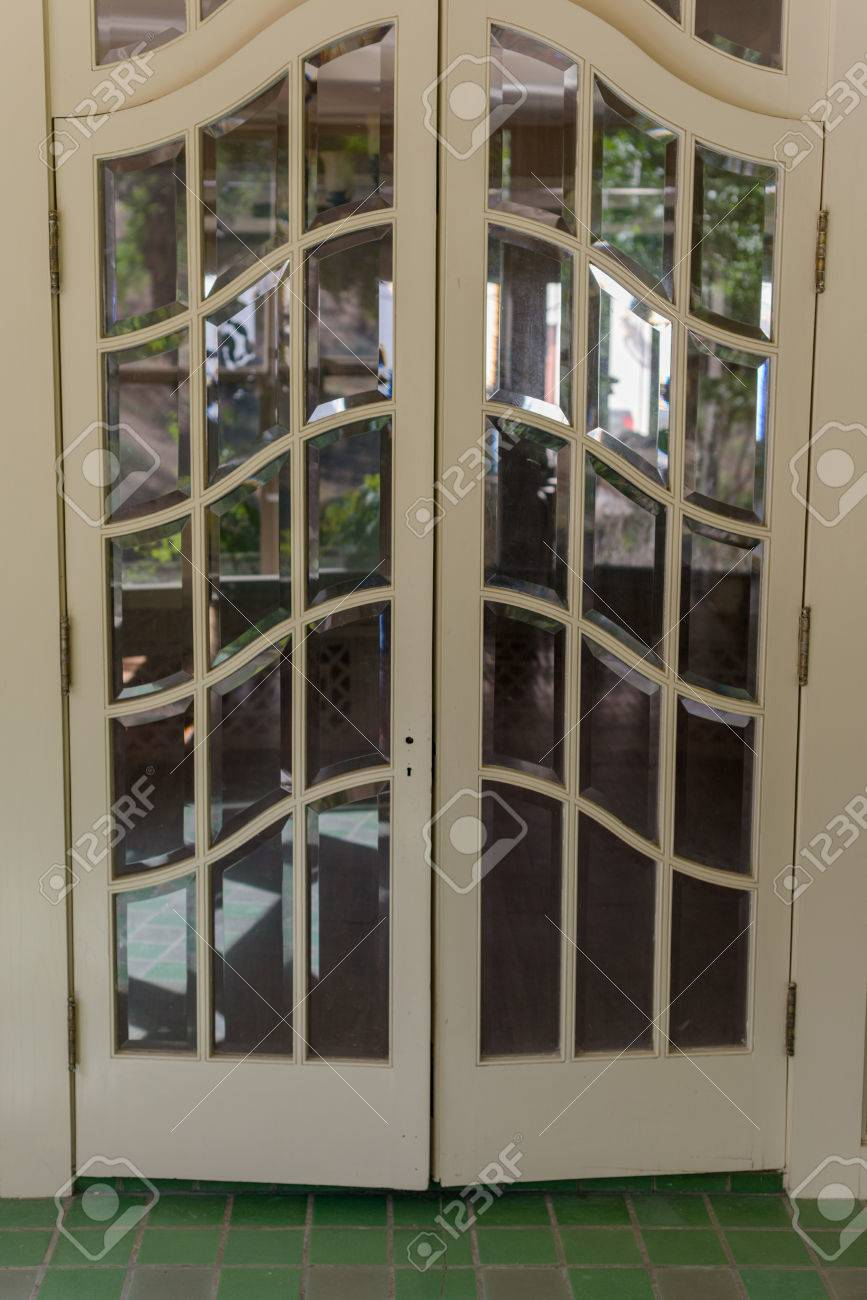 Double Glass Paned Front Door From Tile Room Stock Photo   52408211