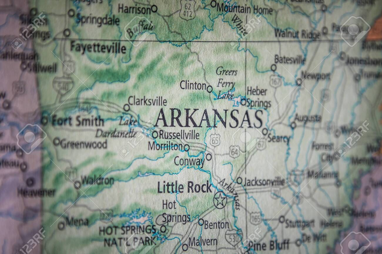 Closeup Selective Focus Of Arkansas State On A Geographical And.. on state names, state initials, state of south dakota website, state of alabama, state climate, state time, state list, state flag, state parks in north alabama, state of al counties, state capitals, state of obesity, state of louisiana, state populations in order, state newspaper, state topography, state puzzle, state function, state city, state population density,