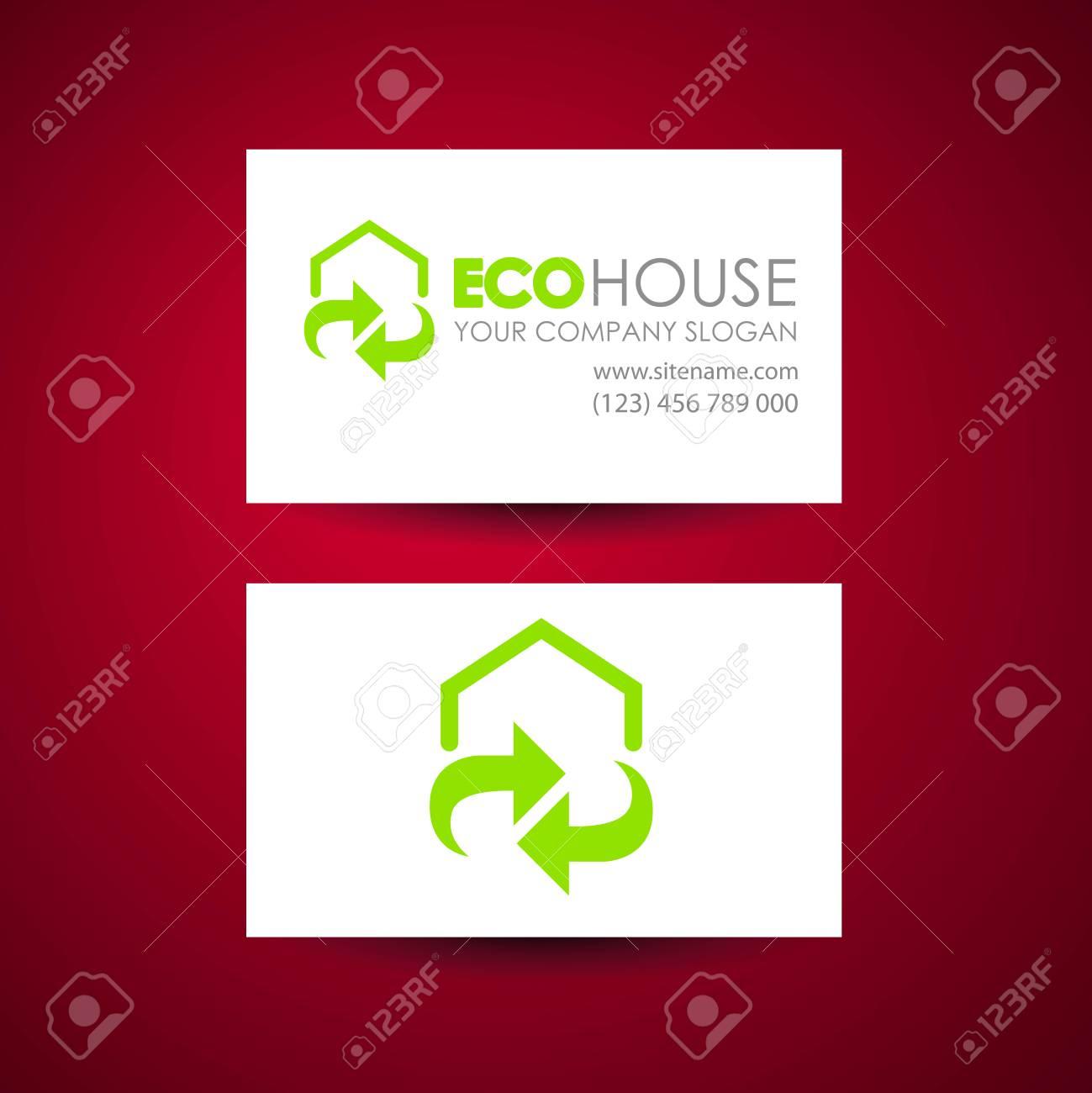 Eco Maison Et Immobilier Logo Modele Carte De Visite Idee