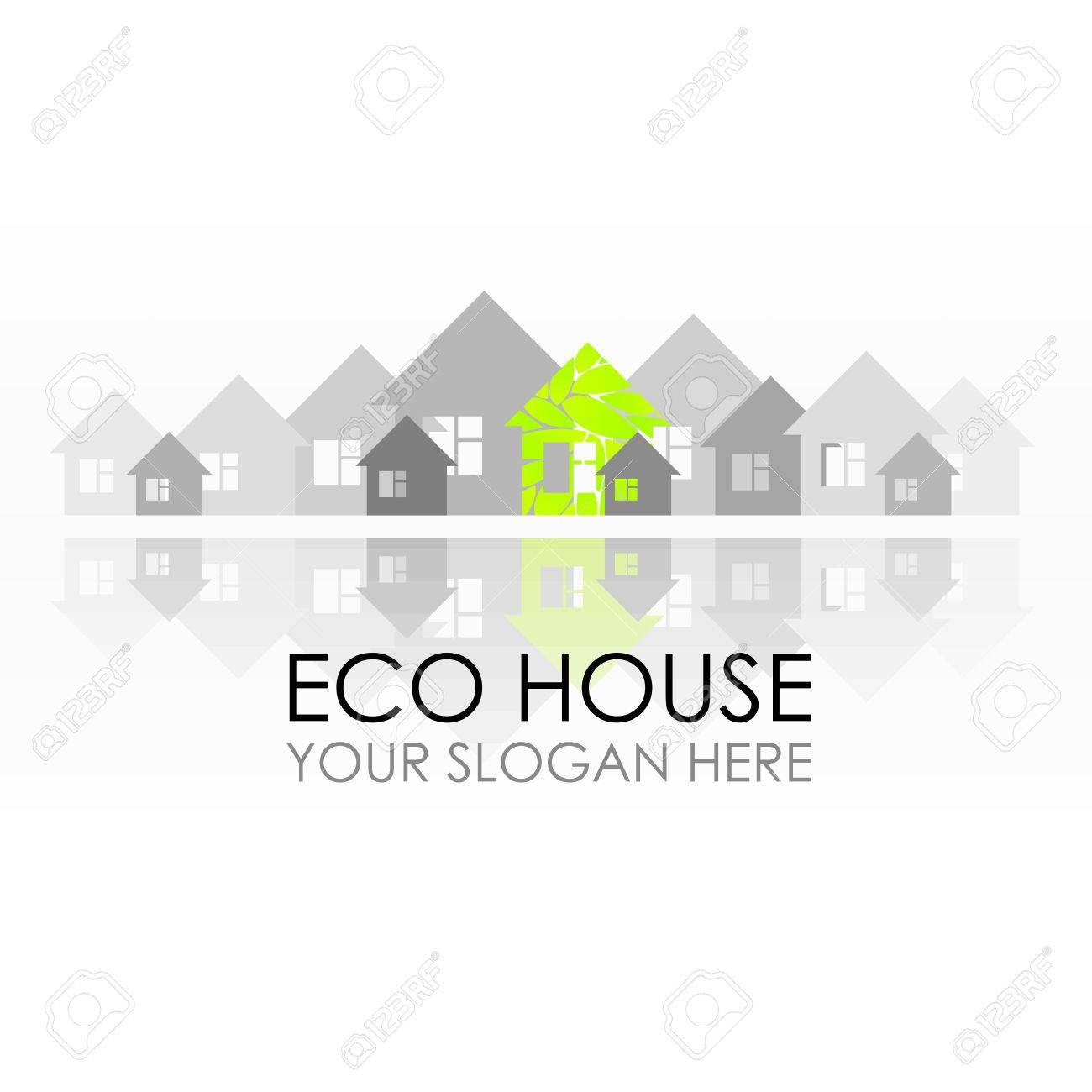 Eco house logo design. Ecological construction. Eco architecture...