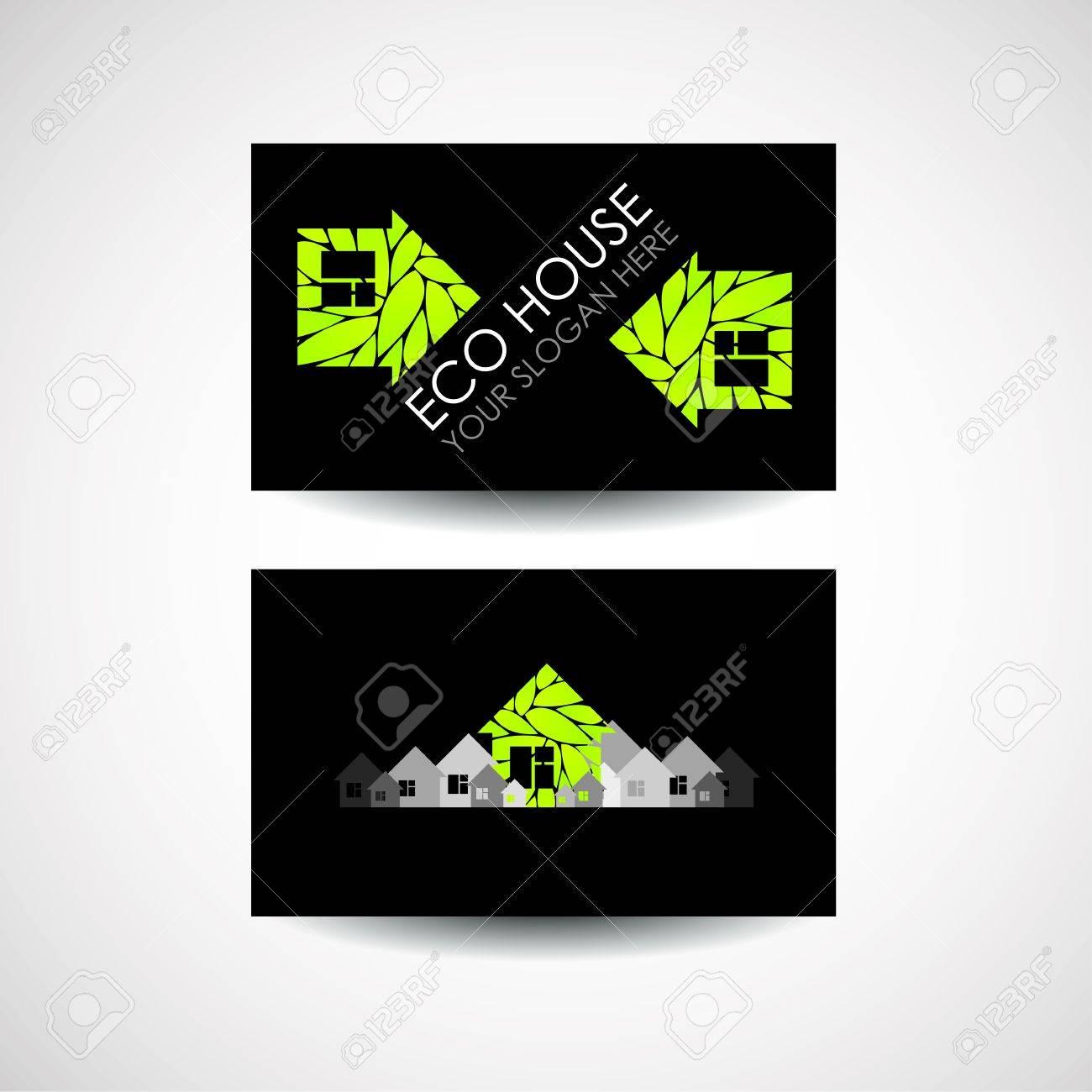 Eco House Logo Et Le Design De Carte Visite Construction