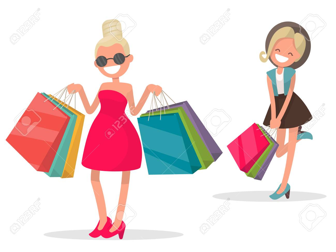 girls with shopping vector illustration in a flat style royalty rh 123rf com shopping victoria british columbia shipping victoria's secret