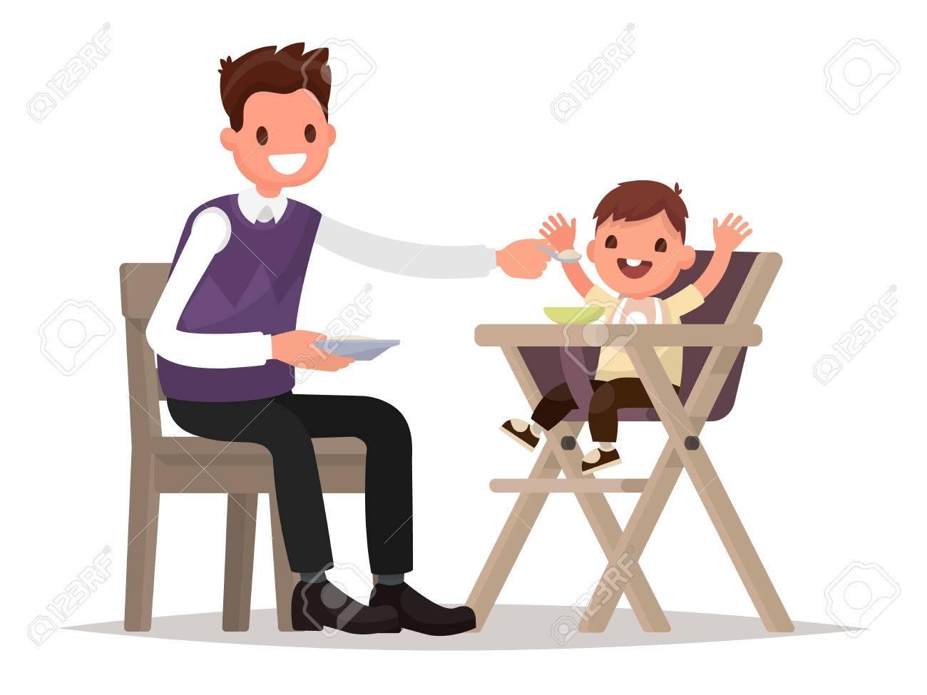 Kinderernahrung Vater Futtert Baby Im Hochstuhl Sitzen Vector
