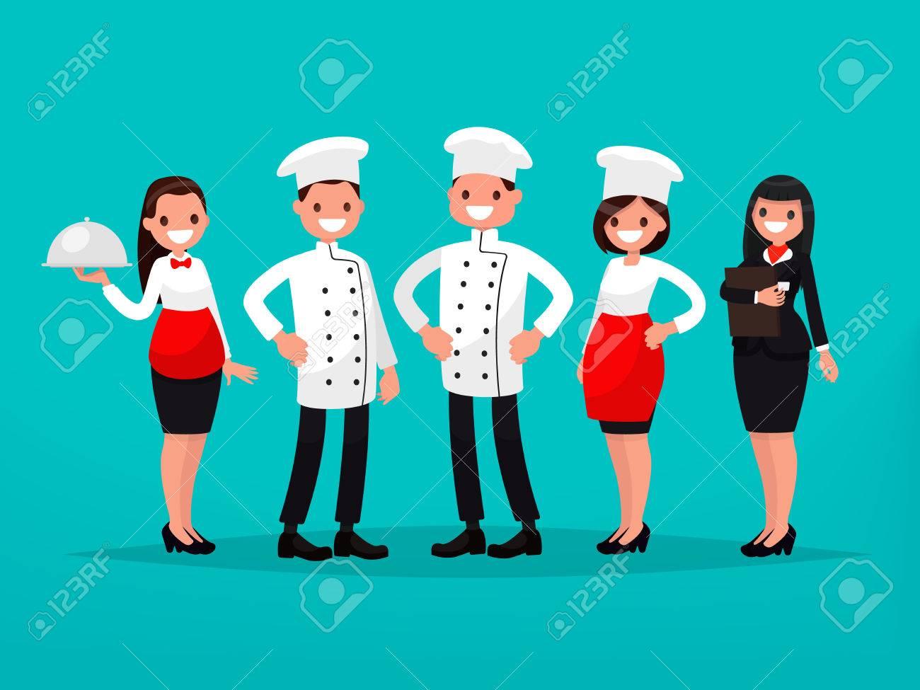 Equipo De Restaurante Chef, Cocinero, Gerente, Camarero. Ilustración ...
