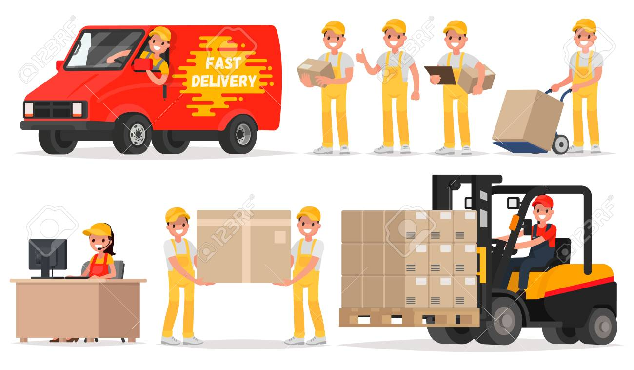 Set of service delivery. Staff: operator, driver, courier, loader. Vector illustration in a flat style - 70672583