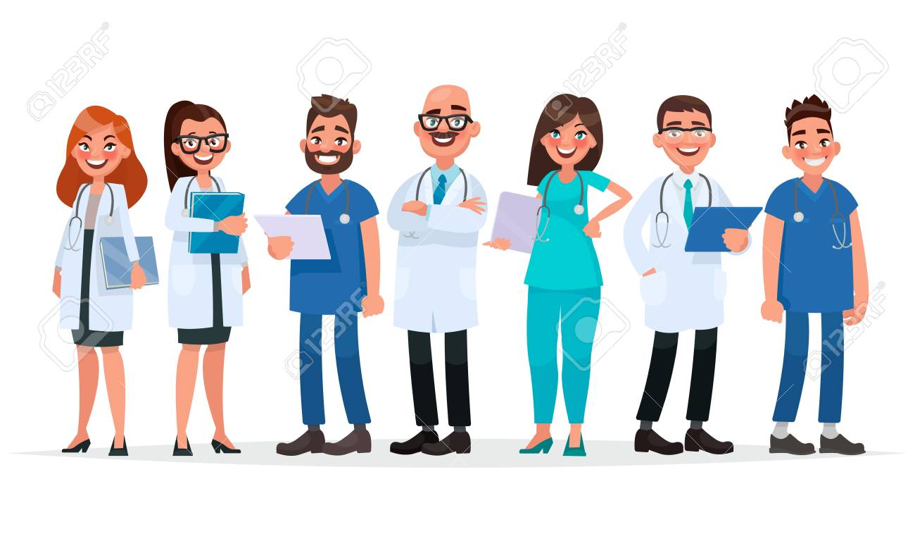 Doctors Team Of Medical Workers On A White Background Hospital