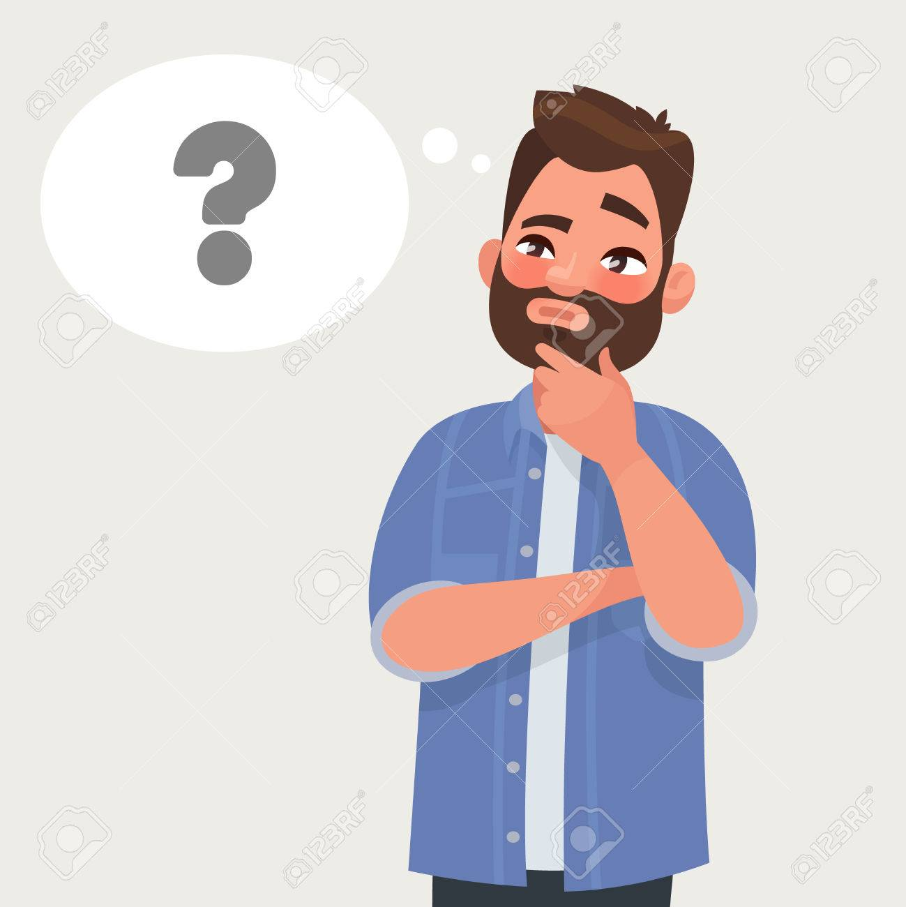 man is thinking question mark vector illustration in cartoon rh 123rf com cartoon pic of person thinking cartoon person thinking image