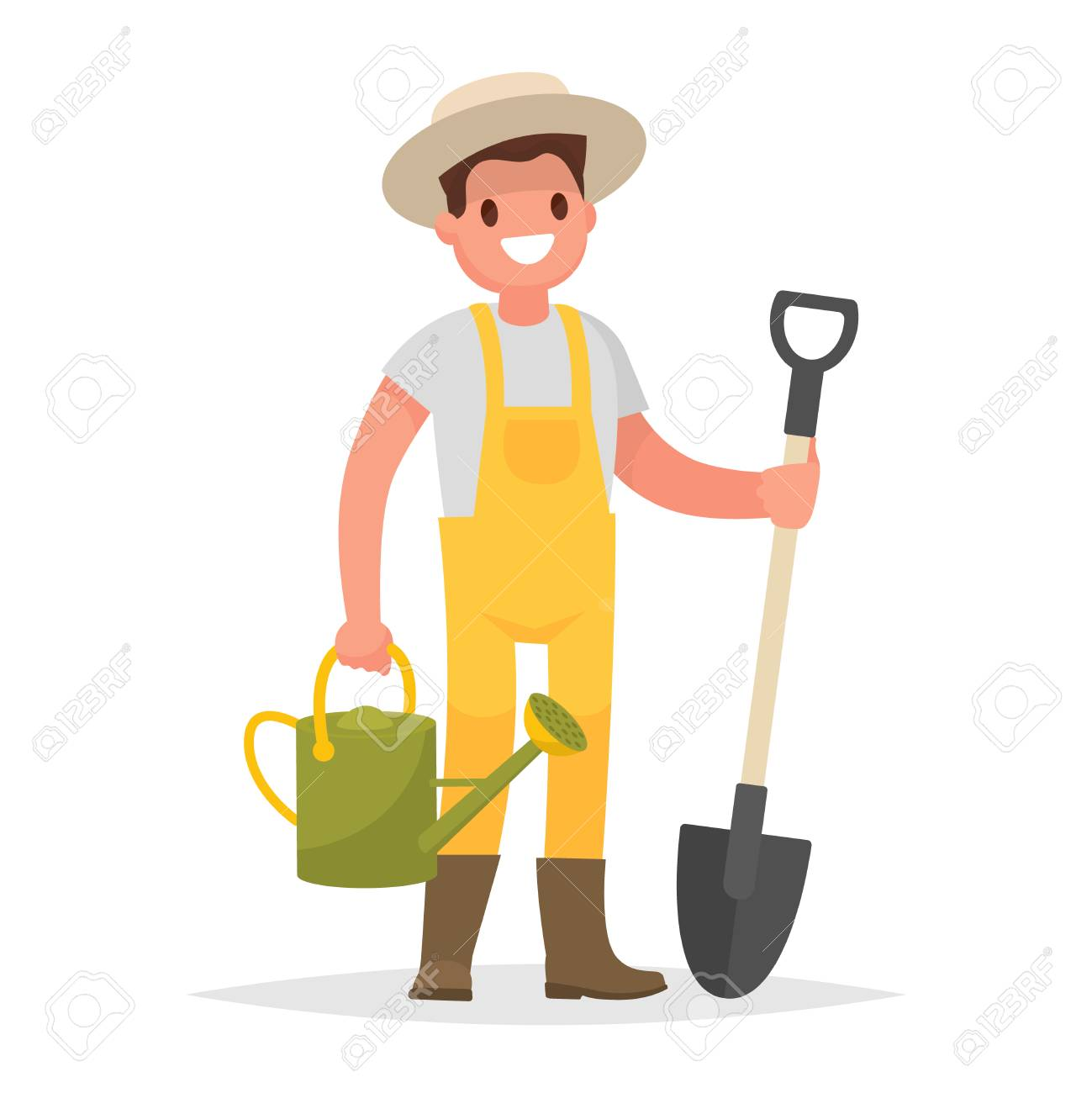 Happy gardener man with a shovel and watering can on a white background. Vector illustration in a flat style - 80907071