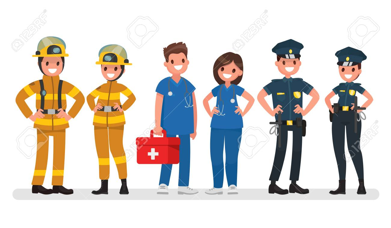 police fire and ambulance emergency services vector illustration