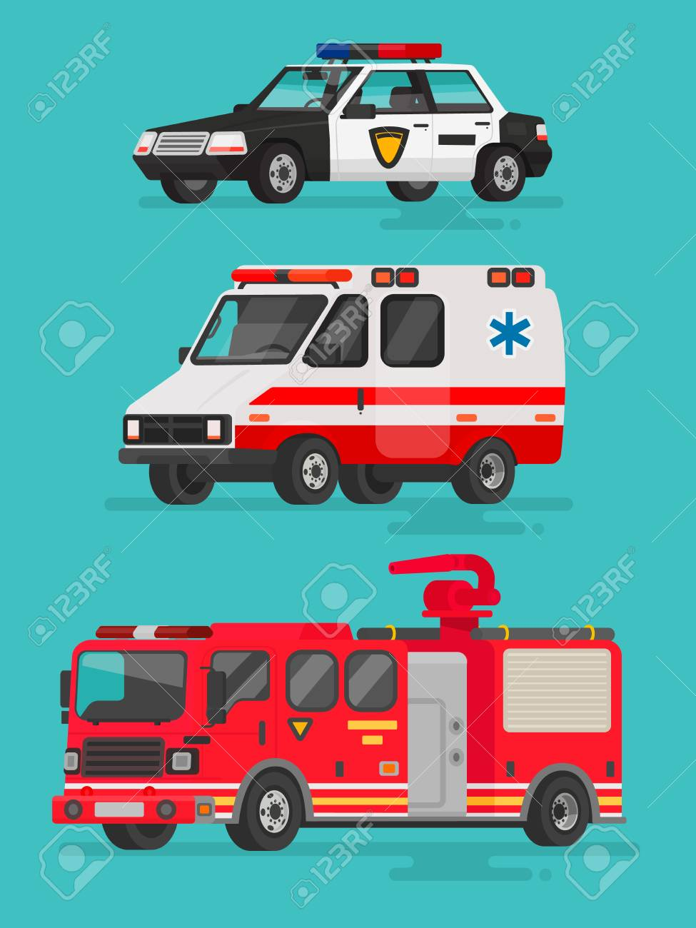 Set Of Emergency Vehicles. Police Car, Ambulance And Fire Truck ...