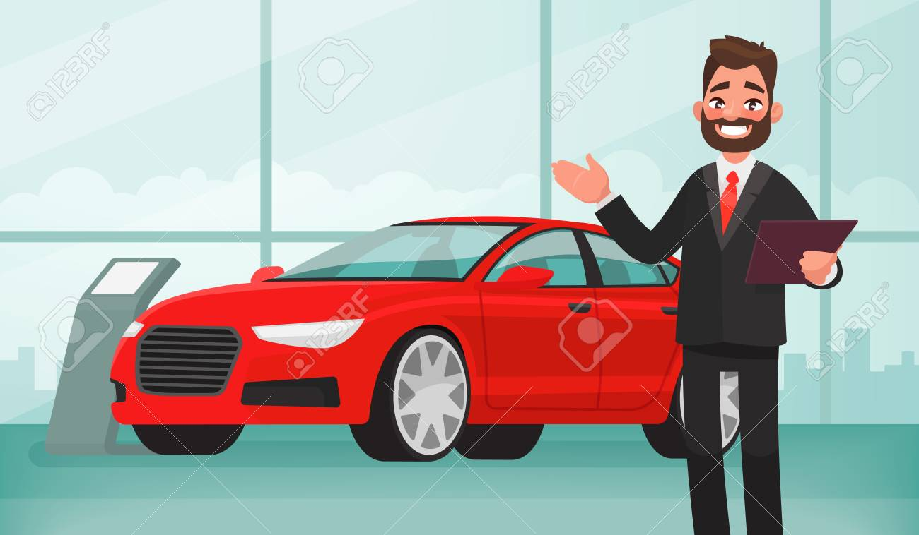 Sale of a new car. The seller at the car showroom shows the vehicle. Vector illustration in cartoon style - 87126732
