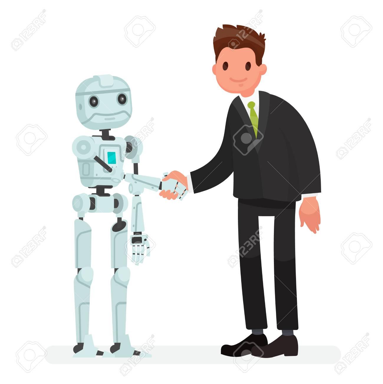 Zusammenarbeit Zwischen Mensch Und Roboter Vektordesigngrafik Flache  Cartoonillustration Stock Vektor Art und mehr Bilder von Abmachung - iStock