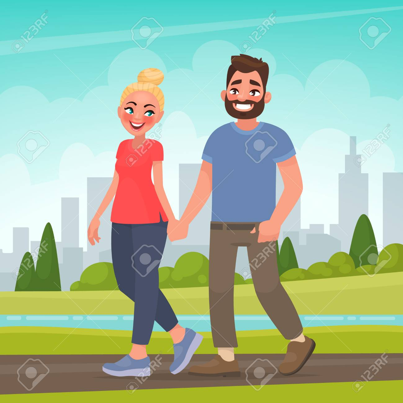 Happy couple in a city park man and woman holding hands walking outdoors vector