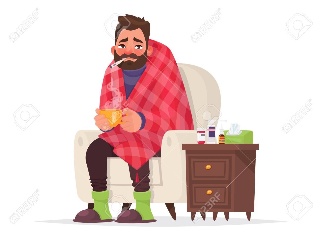Sick man. Flu, viral disease. Illustration in cartoon style - 134077439