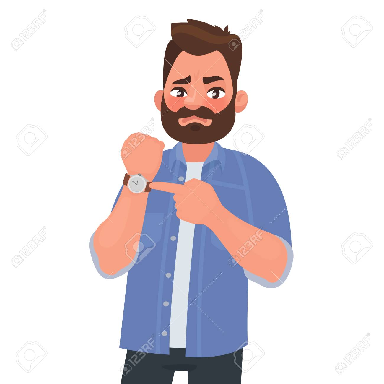 Dissatisfied man shows on the clock. Hurry up. Deadline. Impatient boss. Vector illustration in cartoon style - 122945277