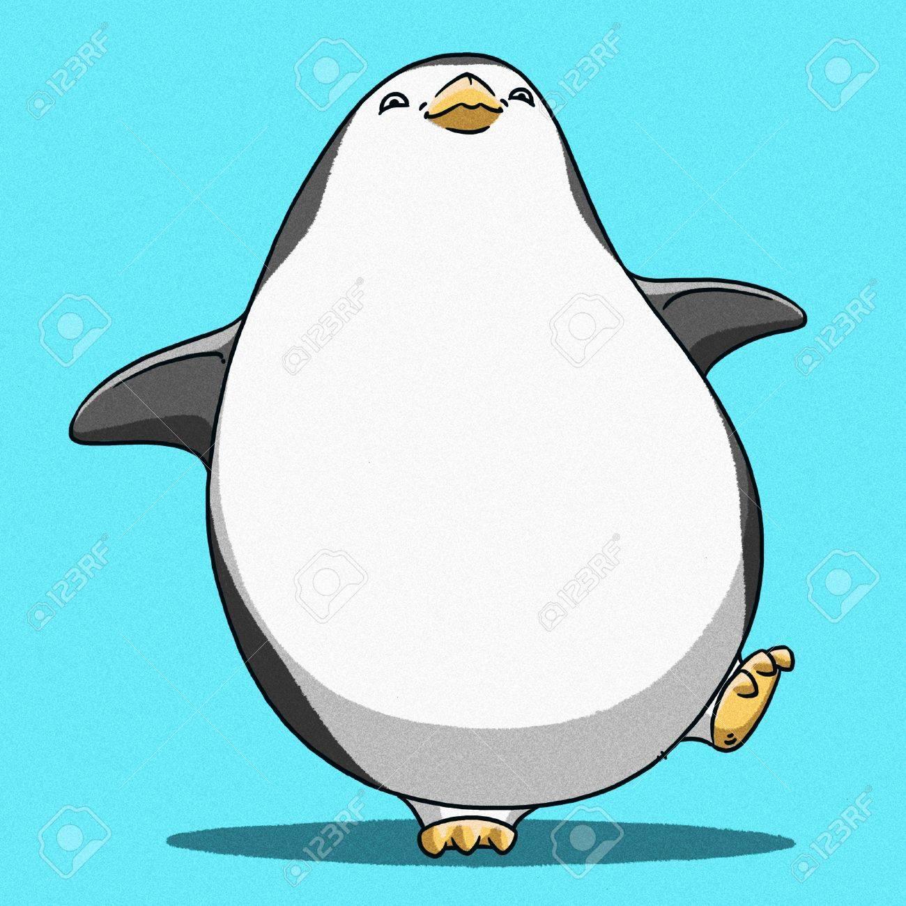 面白い漫画かわいいクールな皇帝ペンギン イラスト の写真素材 画像素材 Image