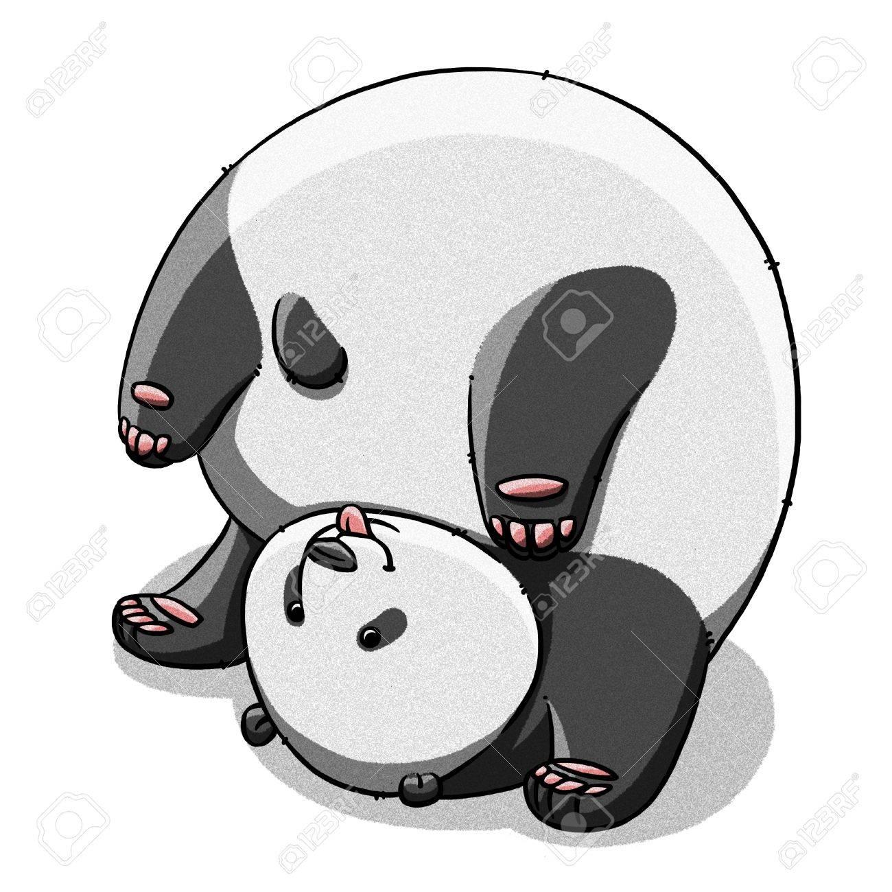 Funny Cartoon Cute Cool Fat Panda Bear Illustration Stock