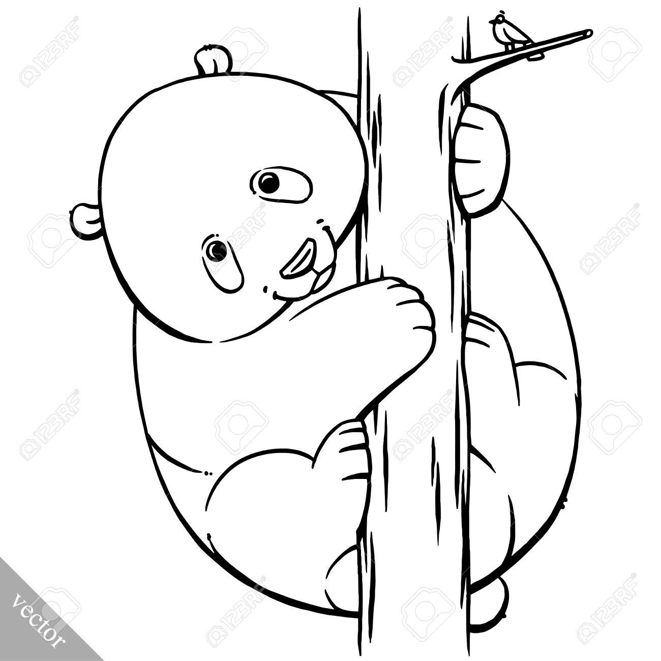 Funny Cartoon Cute Cool Fat Vector Panda Bear Illustration Stock