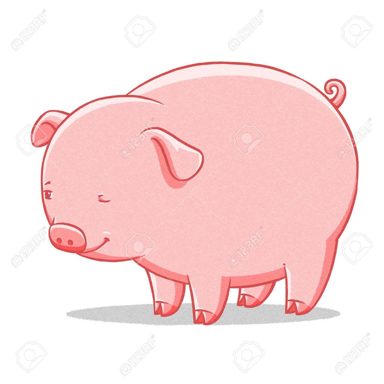 funny cartoon cute cool fat pig illustration stock photo picture rh 123rf com fat pig cartoon pictures fat little pig cartoon