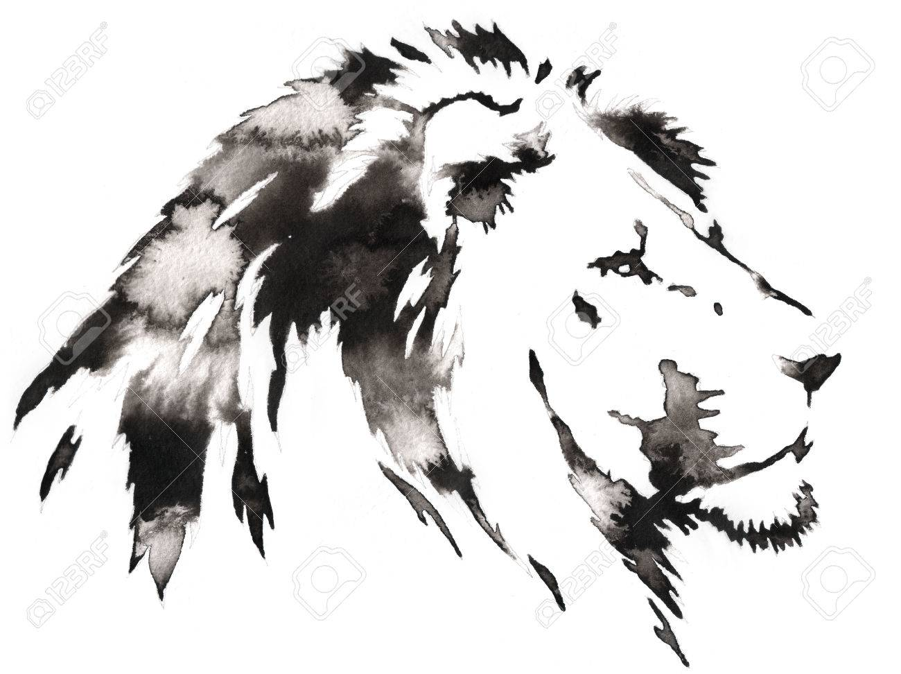 Black and white painting with water and ink draw lion illustration stock illustration 59716280