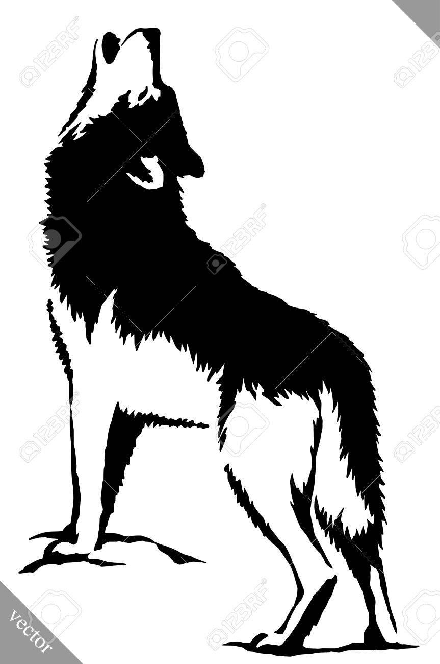 黒と白の線形塗料がオオカミのイラストを描いてくださいのイラスト素材