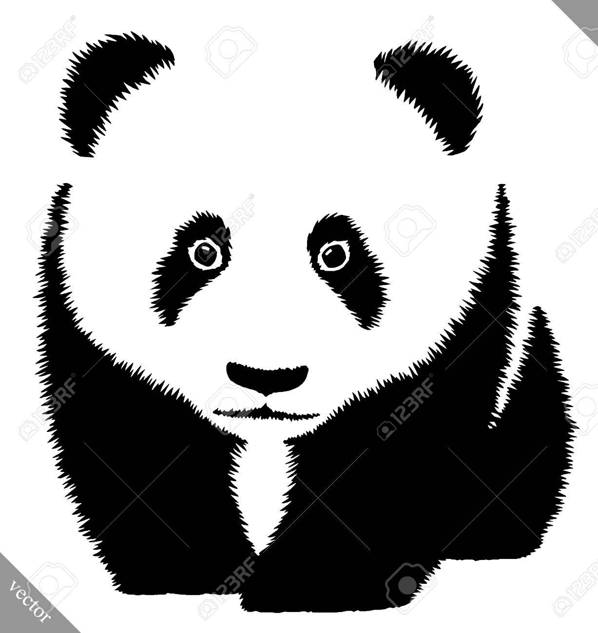 black and white linear paint draw panda vector illustration royalty