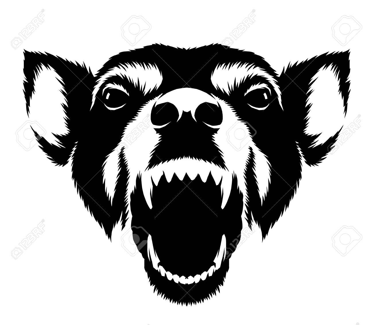 Ilustración De Perro De Dibujo Lineal Blanco Y Negro