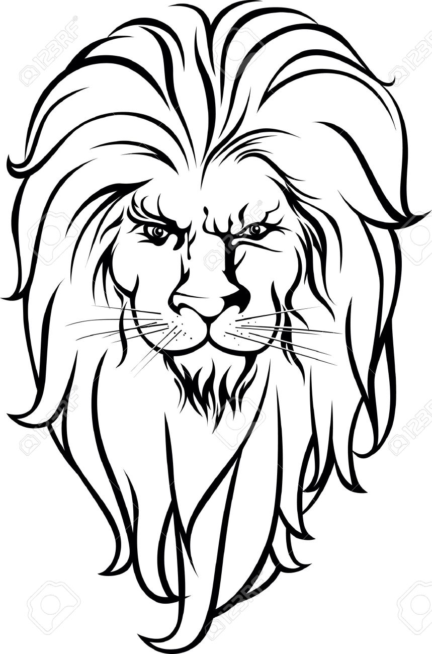 Lion Head Black And White Design Royalty Free Cliparts Vectors