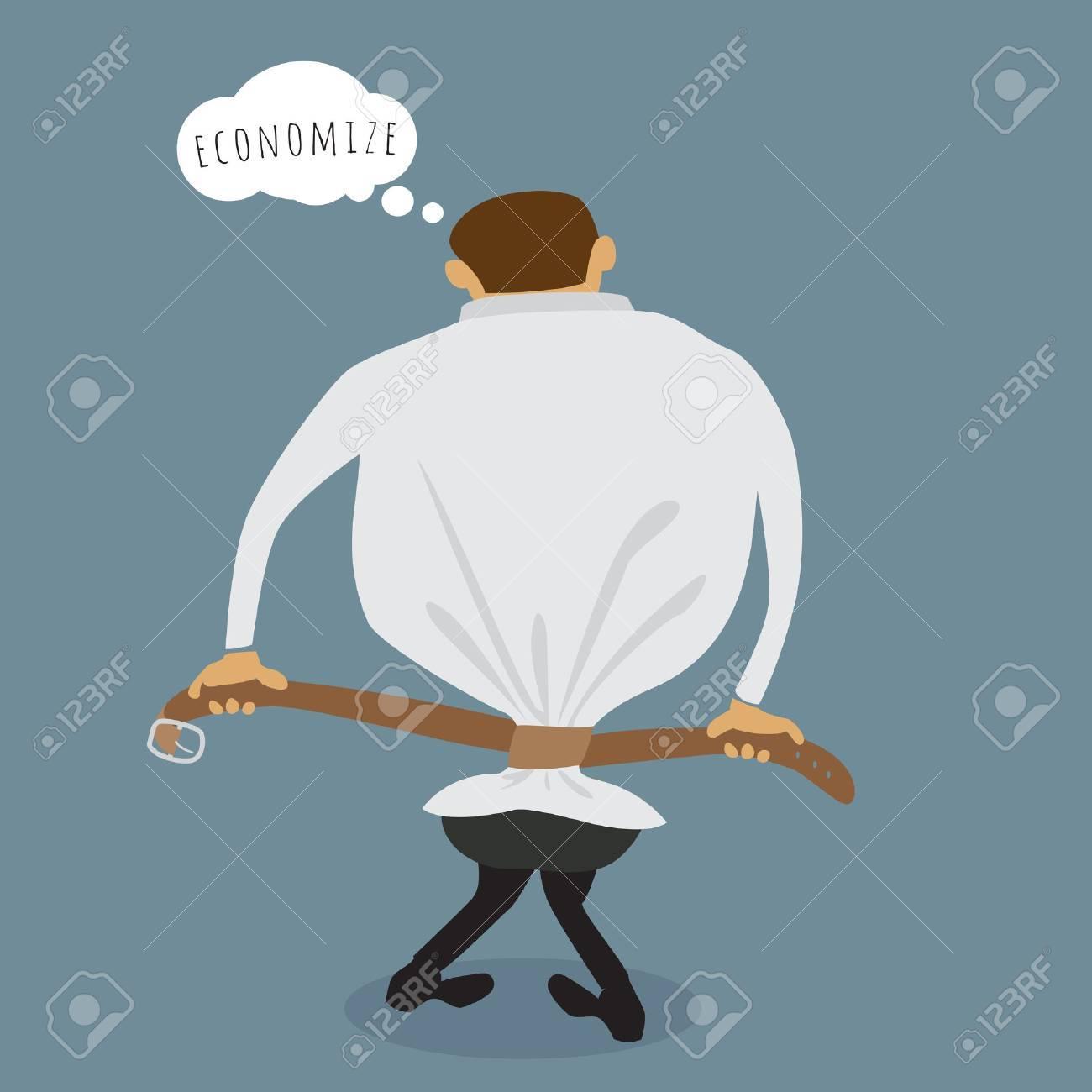 The Man pulls his belt, abstract economize conceptual, illustration vector design Stock Vector - 26375824