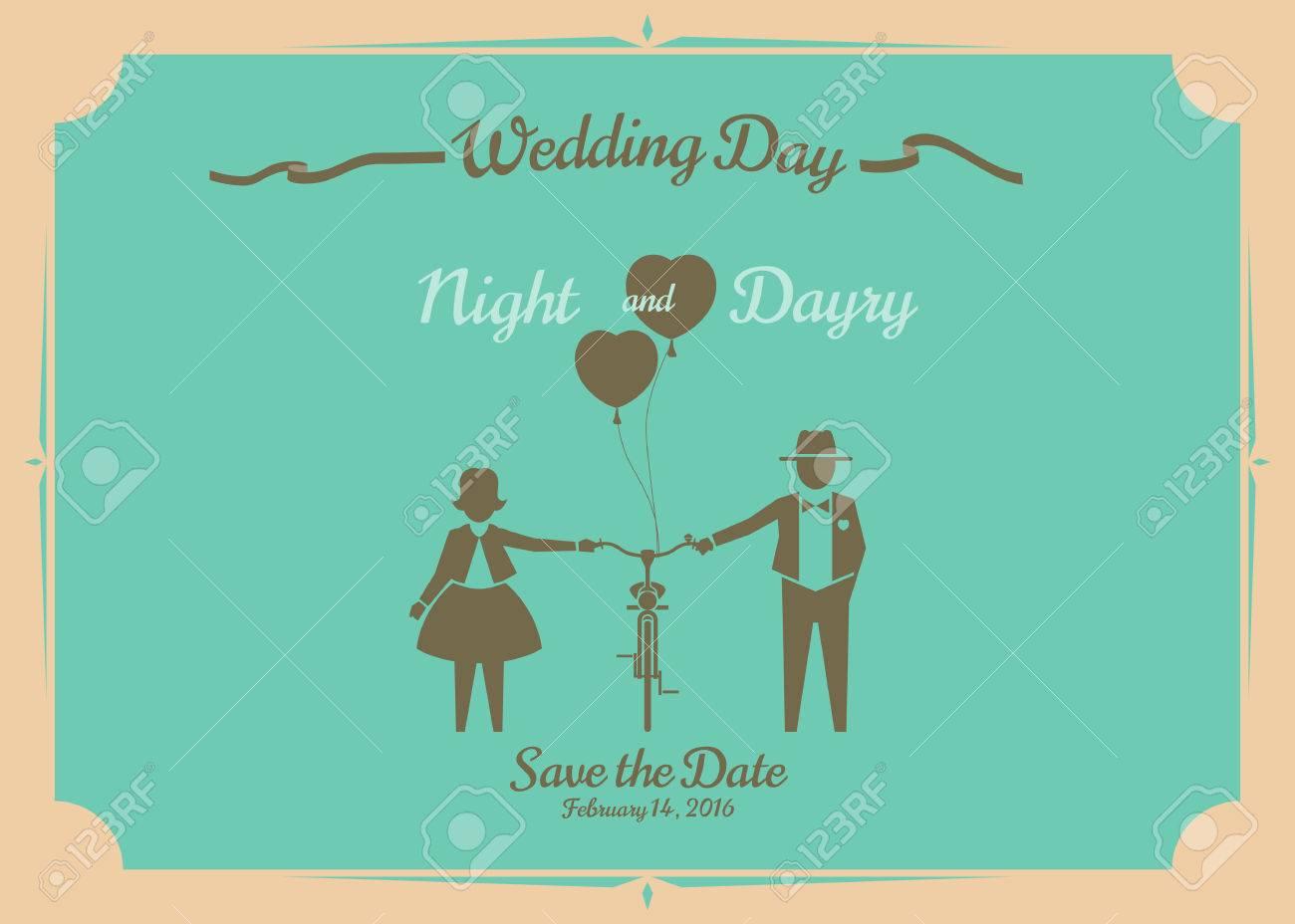 Wedding invitation card, vector design. - 39379752