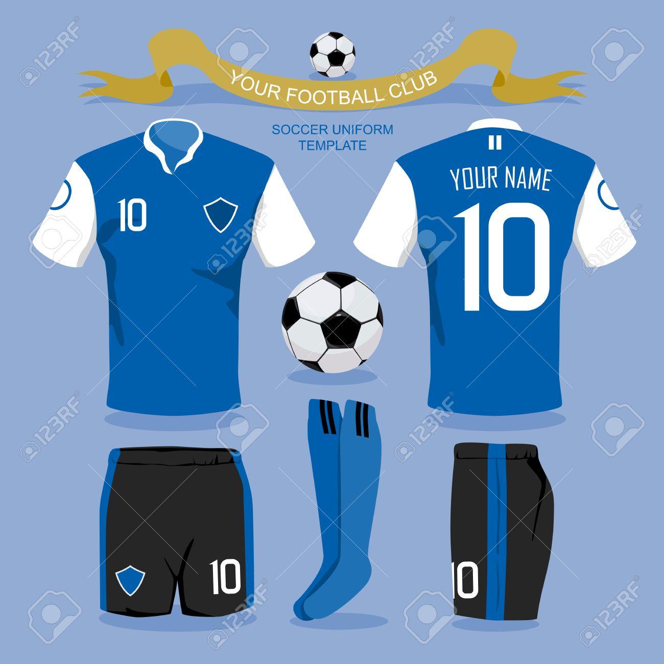 Foto de archivo - Plantilla uniforme del fútbol por su club de fútbol 3b022c9150098