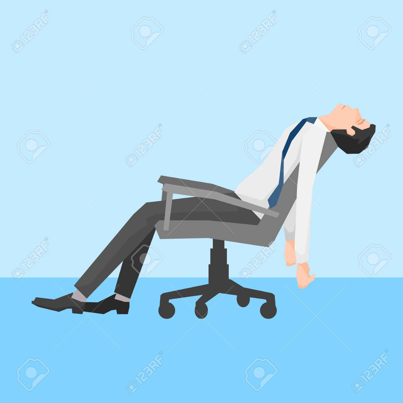 A man exhausted on a chair, simple design, vector illustration. - 45052020