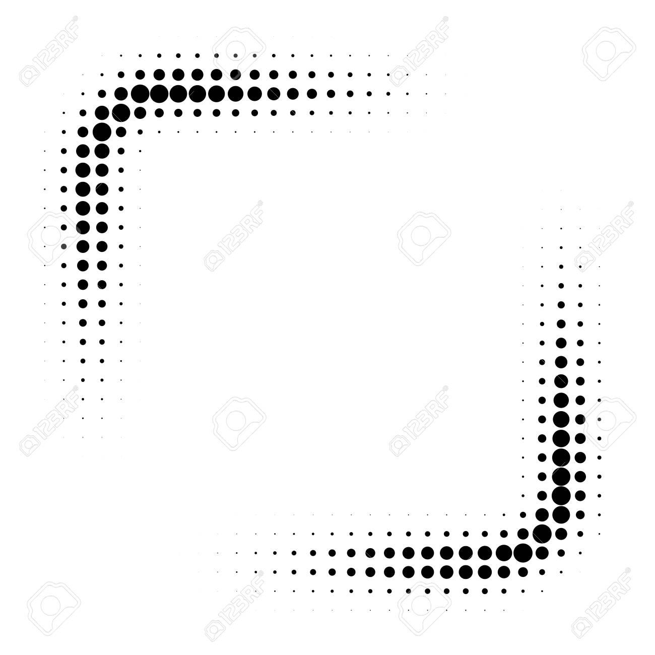 Halftone technique printing with corner design, vector illustration