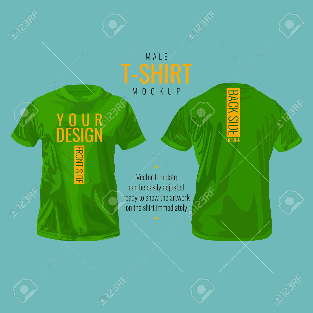 Male T-shirt template and mockup, vector illustration design. - 154335187