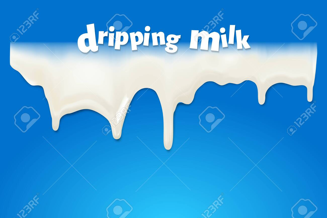 Milk flowed and dripping on a blue background, Vector illustration and design. - 158432477