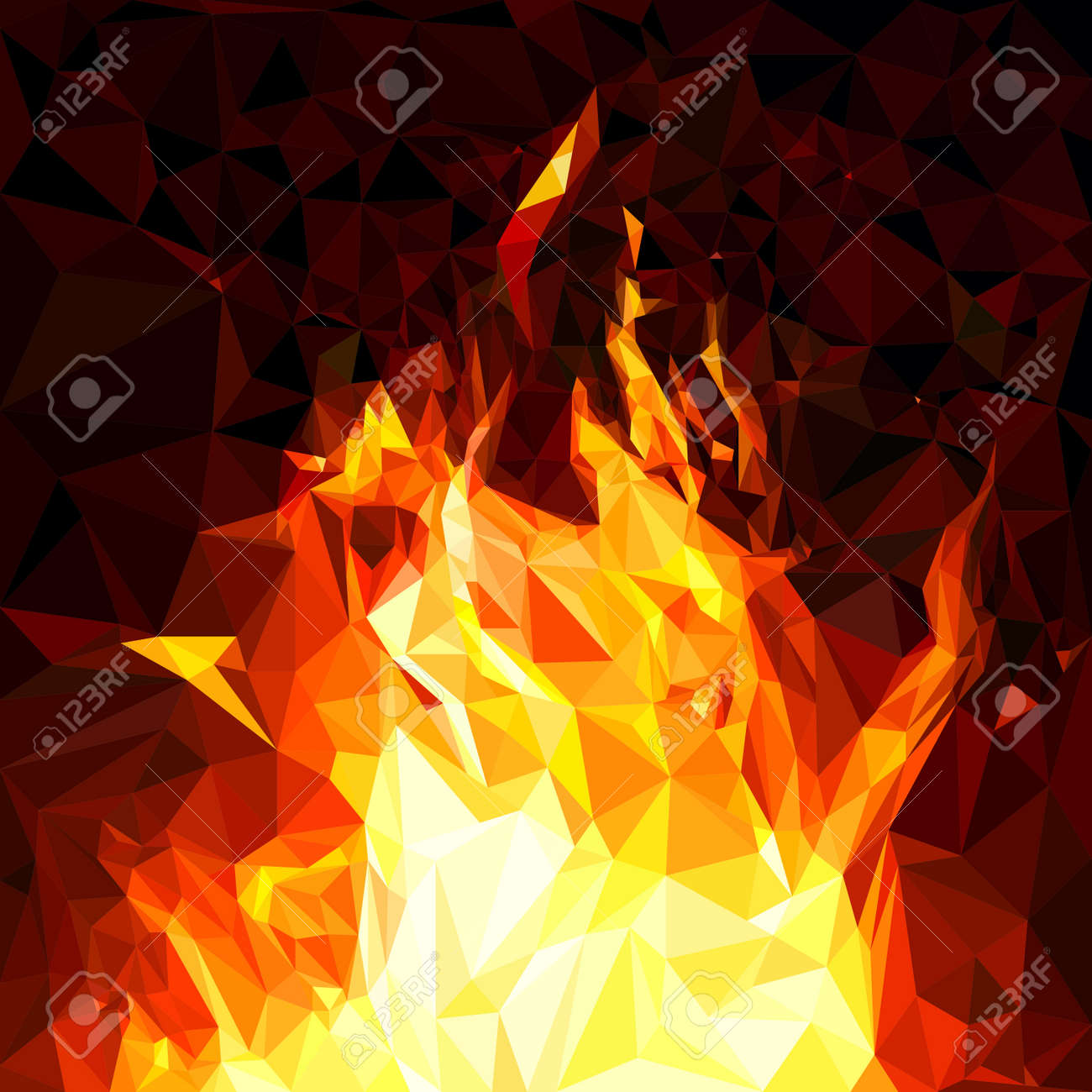 Fiery fire background with polygon style digital painting techniques, vector illustration and design. - 163466186