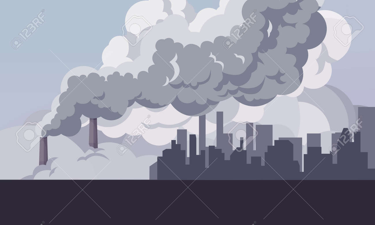 Toxic smoke from industrial factories floating in the air. Causing pollution, destroying the environment And the health of the population of large cities, Vector illustration and flat design. - 164956928