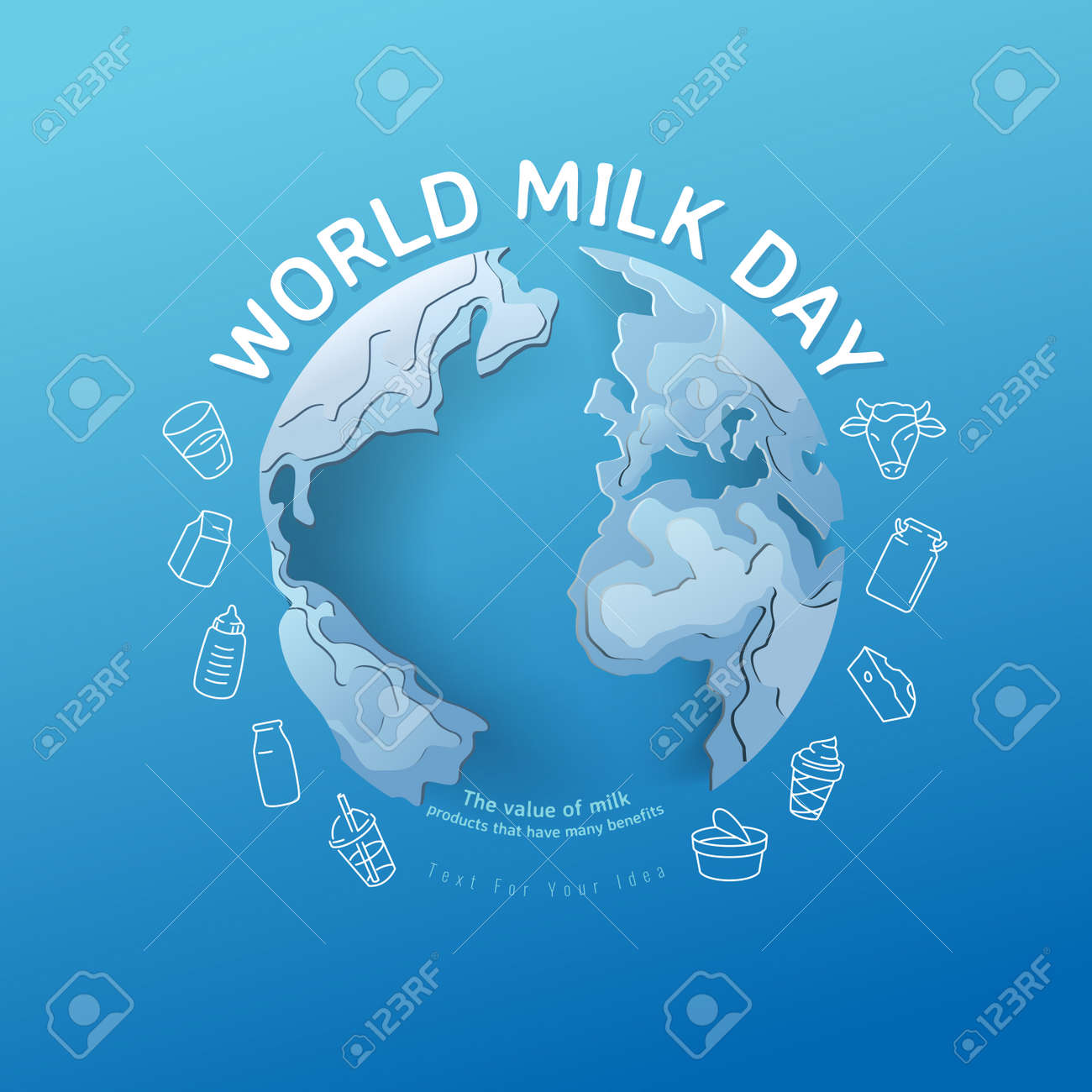 World milk day, pour milk on the world, concept for product of milk. vector illustration and design. - 171096306