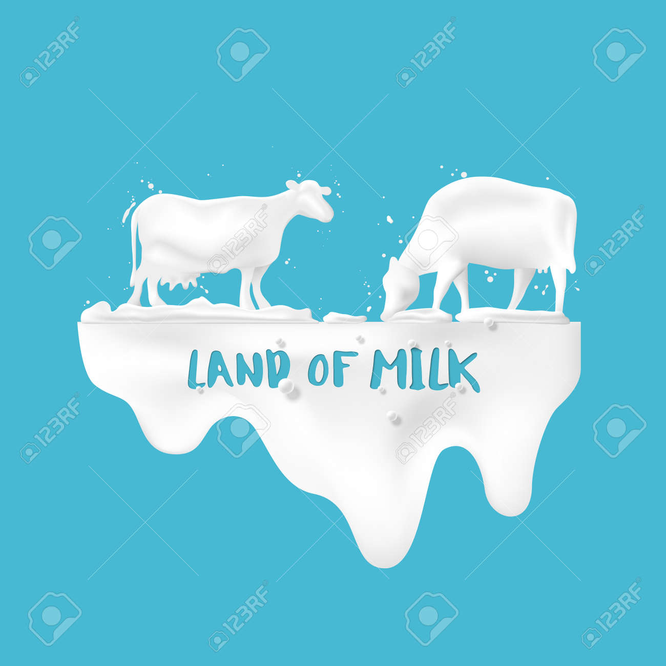 Abstract pour milk and with cows in the meadow, concept of dairy products for advertising, vector illustration and design. - 171349337