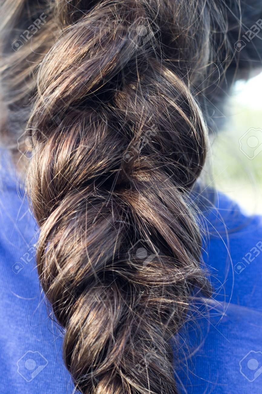 Braid Hairstyle Brunette Dark Brown Or Black Long Hair Close