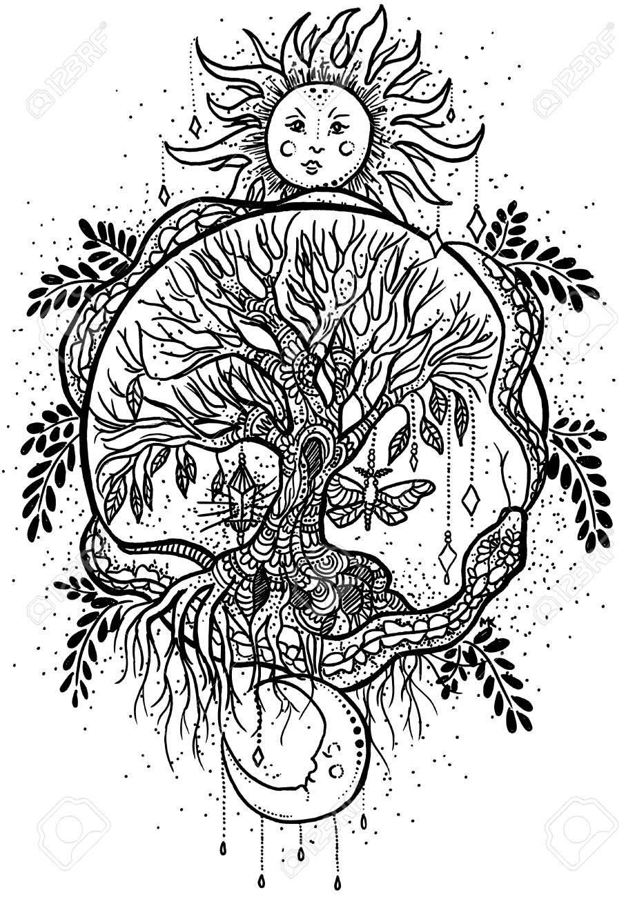 Ilustración De Dibujado A Mano Original Con Sol Blanco El árbol De