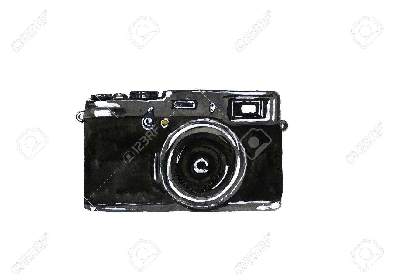 Hand-drawn watercolor camera on white background - 146532088