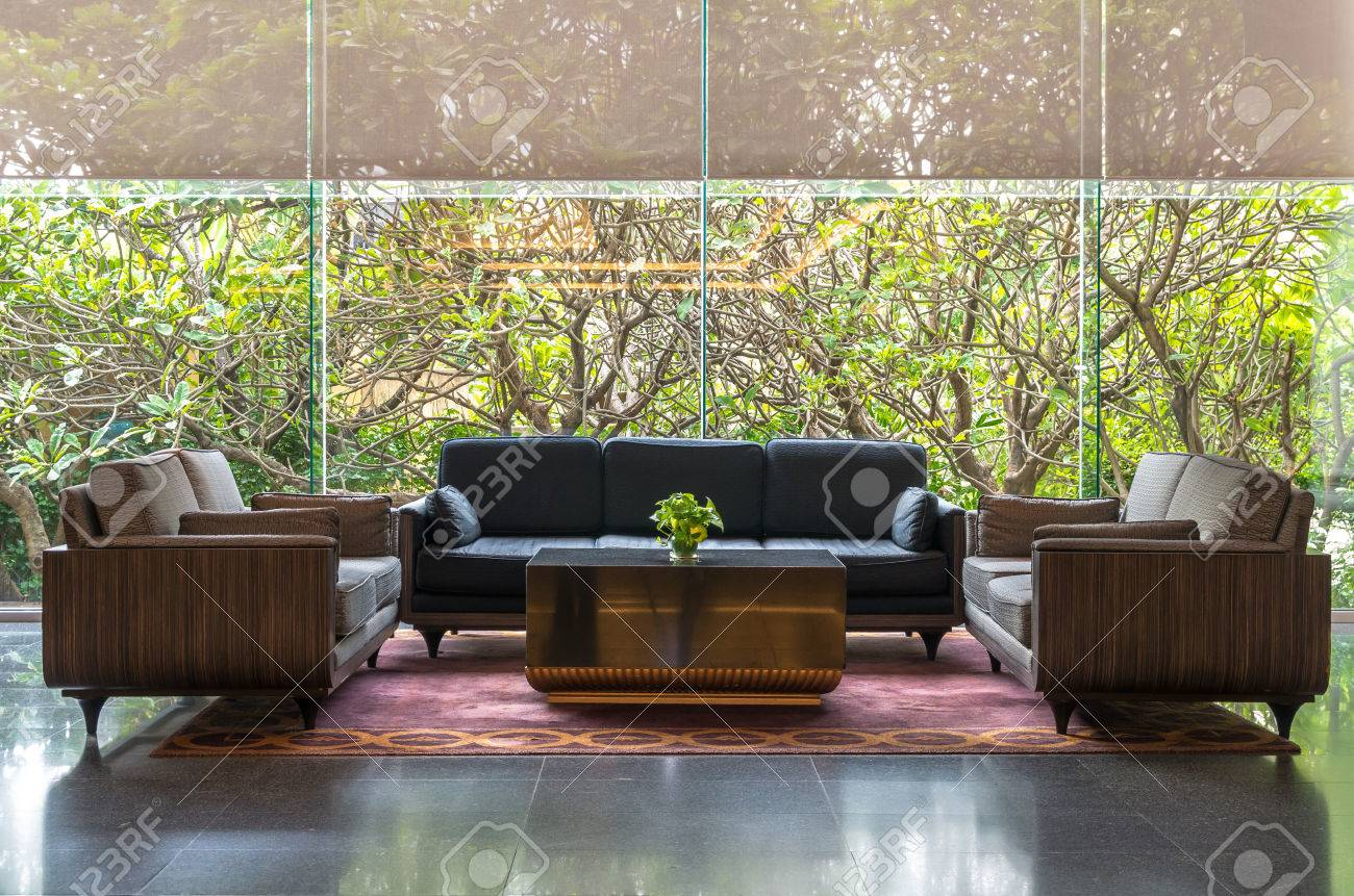 Lobby Area Of A Hotel Office Interior Design Concept Stock Photo
