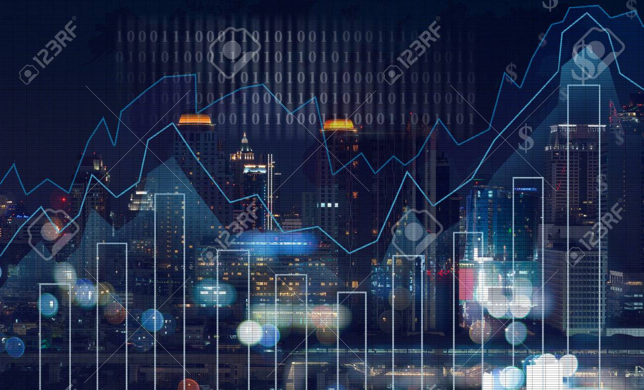 Trading graph on the cityscape at night and world map background,Business financial concept - 55038146