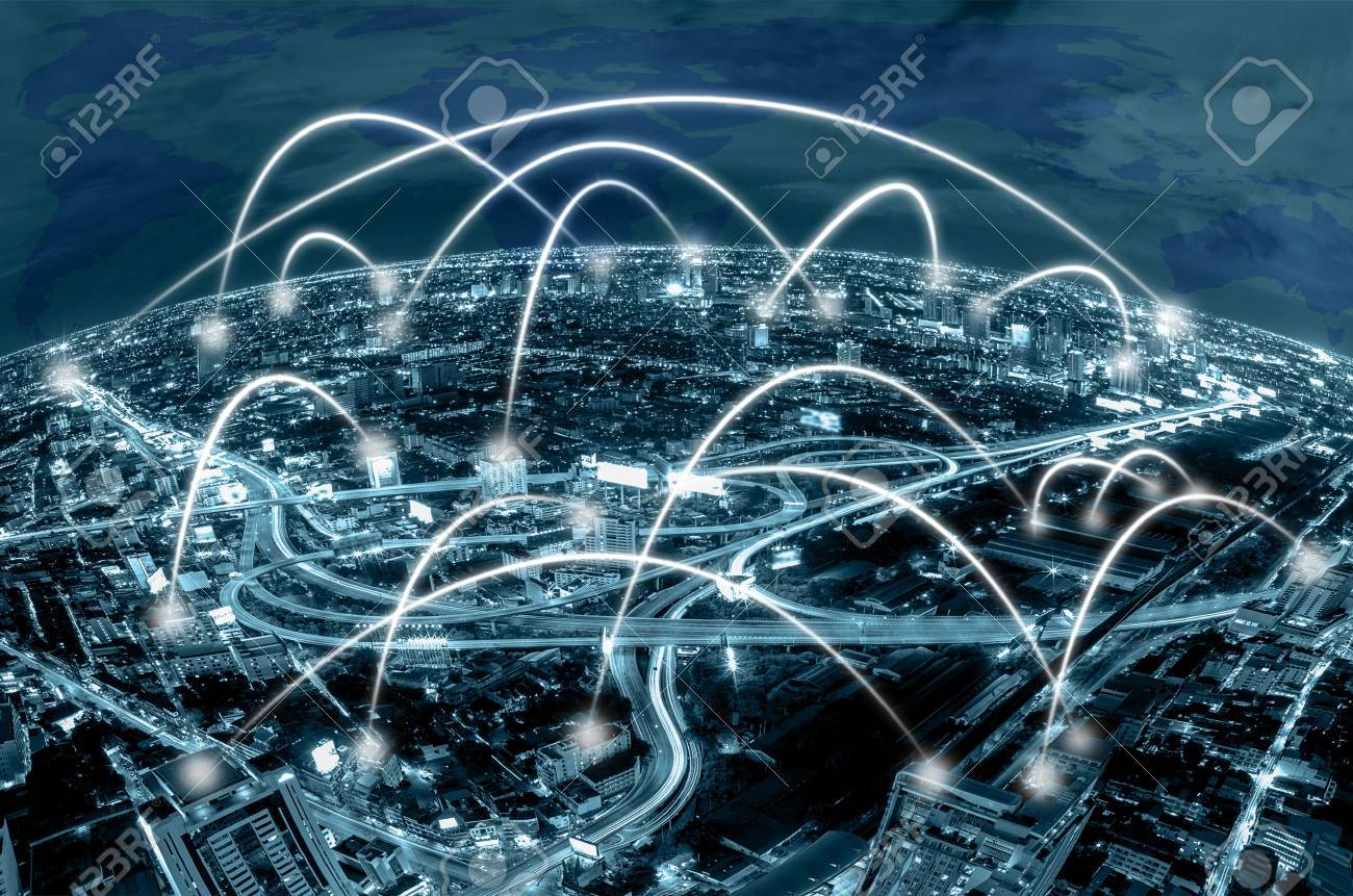 Network connection line between building over the top view of network connection line between building over the top view of cityscape background and world map background gumiabroncs Image collections